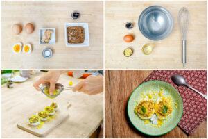 Œufs mimosa, thon blanc et ail noir